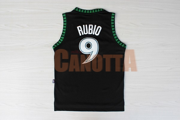 Replica Maglia NBA Minnesota Timberwolves NO.9 Ricky Rubio Retro Nero