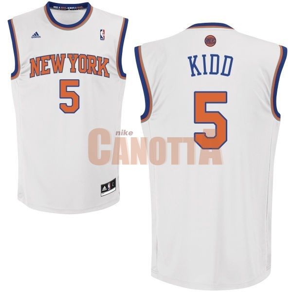 Replica Maglia NBA New York Knicks NO.5 Jason Kidd Bianco
