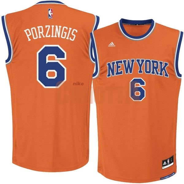 Replica Maglia NBA New York Knicks NO.6 Kristaps Porzingis Arancia