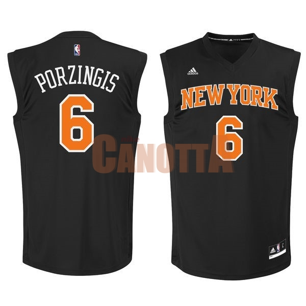 Replica Maglia NBA New York Knicks NO.6 Kristaps Porzingis Nero