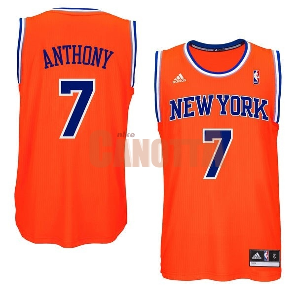 Replica Maglia NBA New York Knicks NO.7 Carmelo Anthony Arancia Blu