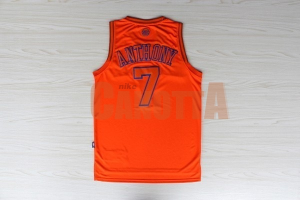 Replica Maglia NBA New York Knicks NO.7 Carmelo Anthony Arancia