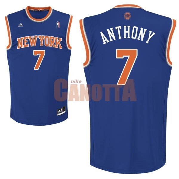 Replica Maglia NBA New York Knicks NO.7 Carmelo Anthony Blu