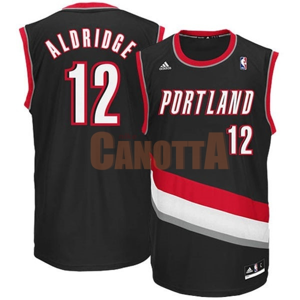 Replica Maglia NBA Portland Trail Blazers NO.12 LaMarcus Aldridge Nero