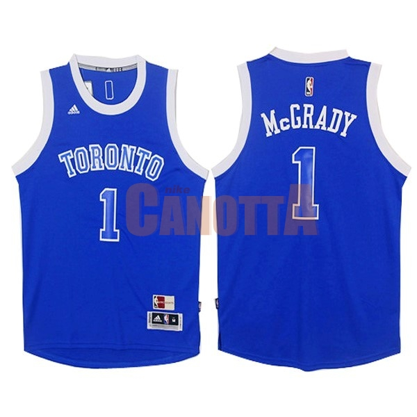 Replica Maglia NBA Toronto Raptors NO.1 Tracy McGrady Blu Bianco