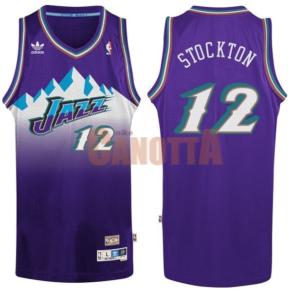 Replica Maglia NBA Utah Jazz NO.12 John Stockton Porpora