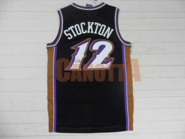 Replica Maglia NBA Utah Jazz NO.12 John Stockton Retro Nero