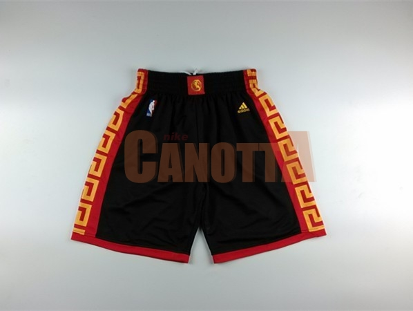 Replica Pantaloni Basket Golden State Warriors Nero Rosso