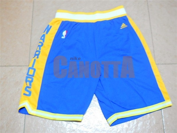 Replica Pantaloni Basket Golden State Warriors Retro Blu