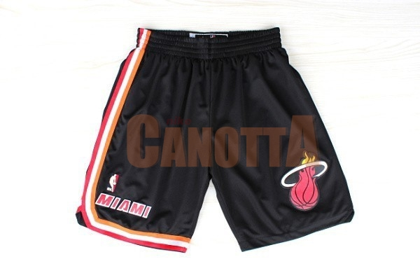 Replica Pantaloni Basket Miami Heat Retro Nero